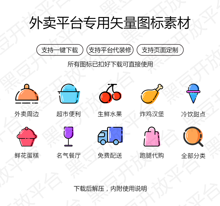 精美整套平台UI【仿美团】附带使用说明,免抠图一键上传